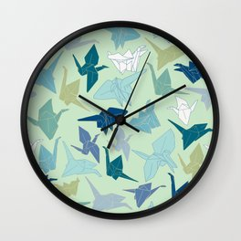 Paper Cranes- Green Wall Clock