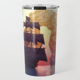 A pirate ship off an island at a sunset Travel Mug