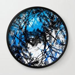 Blue tree pillow one Wall Clock