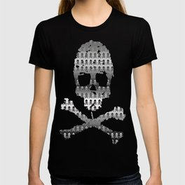 Skull and XBones - Smaller: Metal and Slight Pink T-shirt