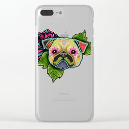 Pug in Fawn - Day of the Dead Sugar Skull Dog Clear iPhone Case