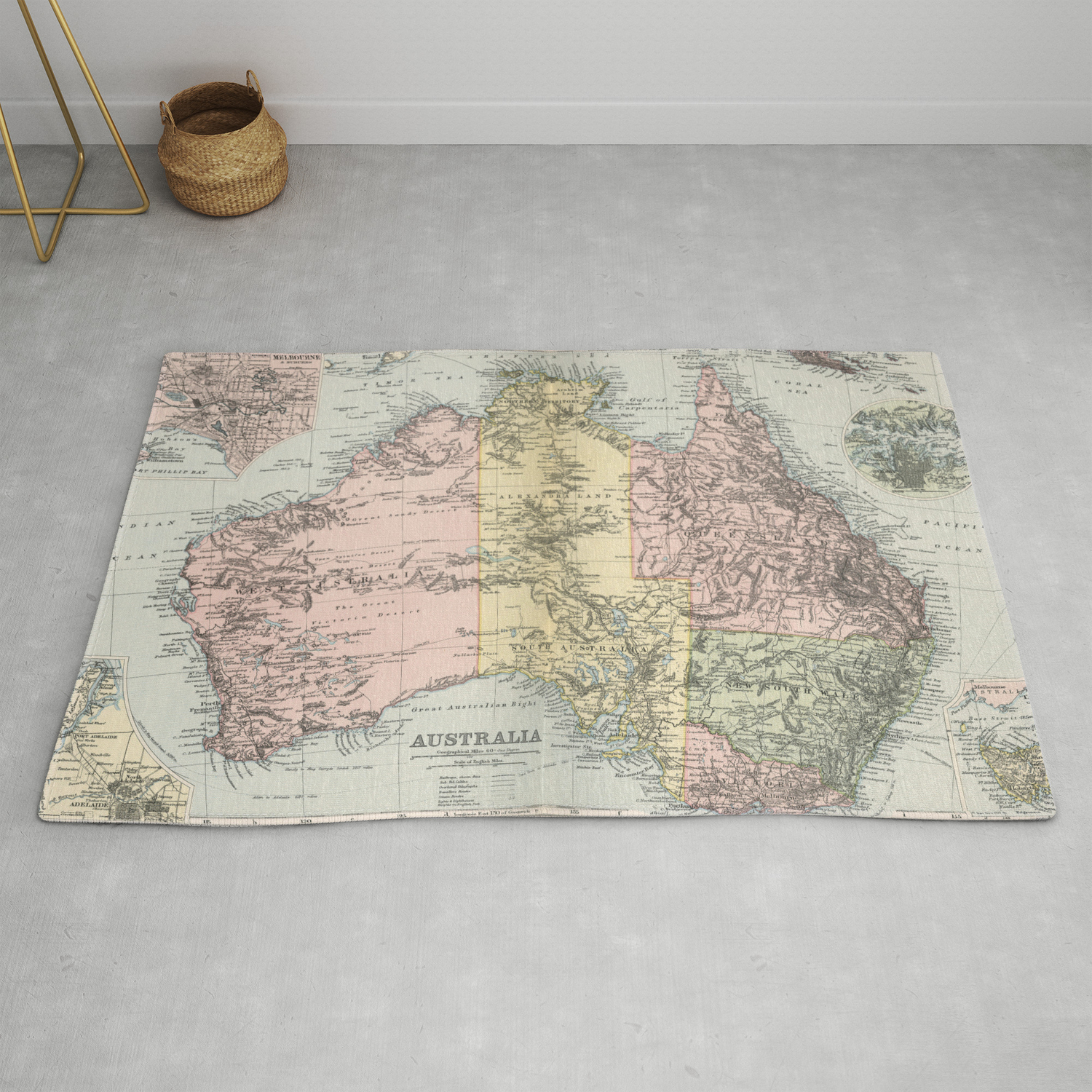 Vintage Map Of Australia 1891 Rug By