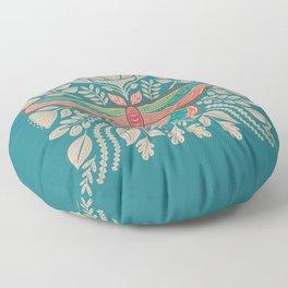 Moth Floral   Teal Floor Pillow