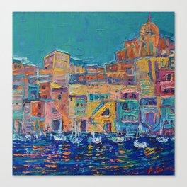 Bay of Naples #3 - modern palette knife art city landscape by Adriana Dziuba Canvas Print