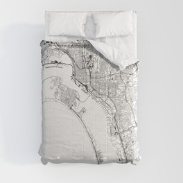 San Diego White Map Comforters