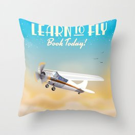Learn to fly vintage plane poster print. Throw Pillow