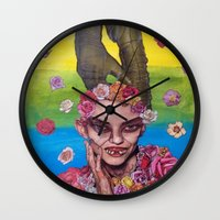 death cab for cutie Wall Clocks featuring cutie by madild