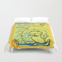 lama Duvet Covers featuring lama goloso di dolci by Octofly Art