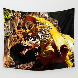 Golden Dragon Laughs Wall Tapestry