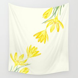 yellow botanical crocus watercolor Wall Tapestry