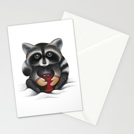 Raccoon with Hot Chocolate Stationery Cards