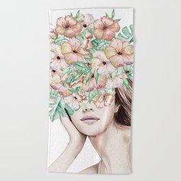 She Wore Flowers in Her Hair Island Dreams Beach Towel