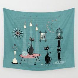Mid Century Kitty Mischief - ©studioxtine Wall Tapestry