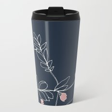 Flora, White and Pink on Navy Blue Metal Travel Mug