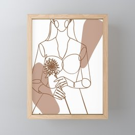 Beautiful wedding logo line art illustration Framed Mini Art Print