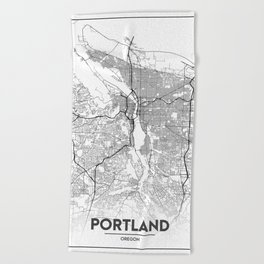 Minimal City Maps - Map Of Portland, Oregon, United States Beach Towel