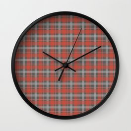 Pink And Grey Plaid Pattern Design Wall Clock