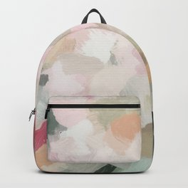 Forest Green Fuchsia Blush Pink Abstract Flower Spring Painting Art Backpack