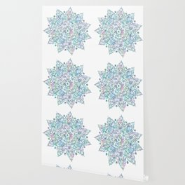 Mermaid Dreams Mandala on White Wallpaper