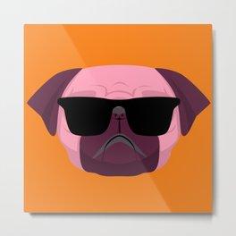 Orange Purple Cute Boss Pug Puppy Lover  Metal Print