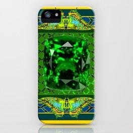 YELLOW  DECORATIVE  GREEN EMERALD GEM & BUTTERFLY ART iPhone Case