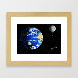 Drawing the Earth and the Moon Framed Art Print