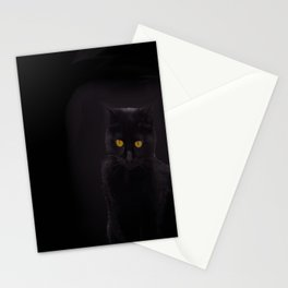Black Cat On A Black Background #decor #buyart #society6 Stationery Cards