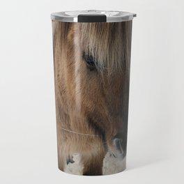 snowy Icelandic horse Travel Mug