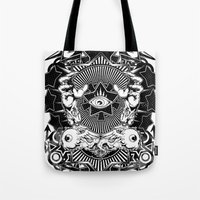 all seeing eye Tote Bags featuring All seeing eye by Tshirt-Factory