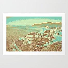 Santorini Greek Island Caldera, Greece 7 Art Print