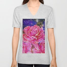 Roses with sparkles and purple infusion Unisex V-Neck