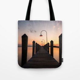 Rusty Rudder Dock Sunset Tote Bag