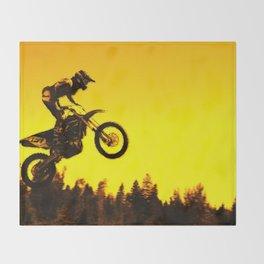 Sunset Run - Motocross Racer Throw Blanket