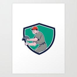 Baseball Player OutFielder Throwing Ball Crest Cartoon Art Print