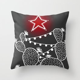 Cactus christmas tree with red star Throw Pillow