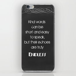 Chalkboard Typography Quote on Using Kind Words iPhone Skin