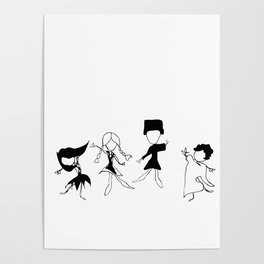 World Dancers - Black and White Poster