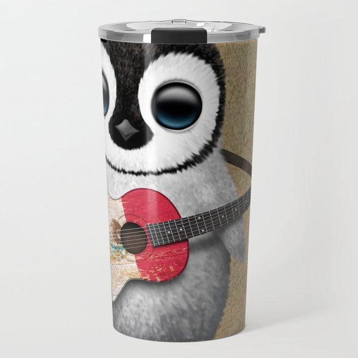 Baby Penguin Playing Mexican Flag Guitar Travel Mug