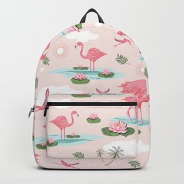 Flamingos and waterlilies Backpack