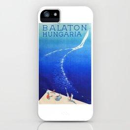 Budapest, Hungary, Balaton, vintage poster iPhone Case