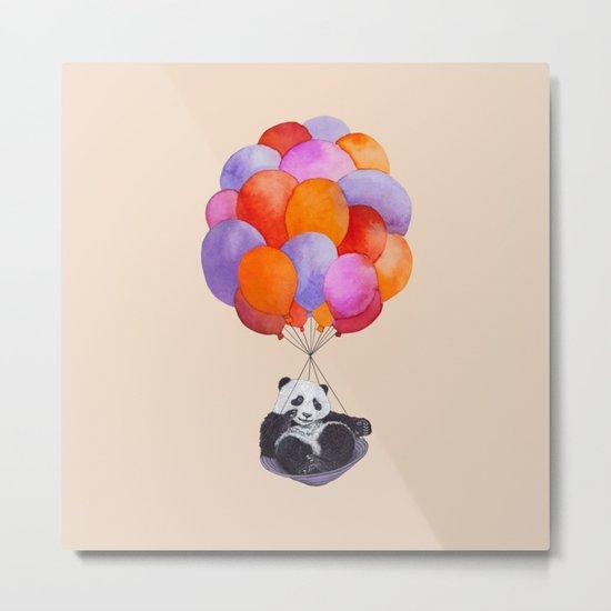 Panda flying with balloons Metal Print