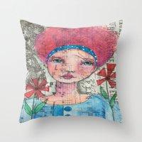 zelda Throw Pillows featuring Zelda by Judy Skowron