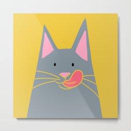 Cute Russian Blue Cat in Yellow Metal Print