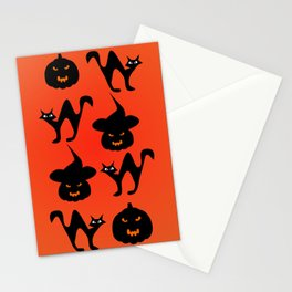 Halloween with cats and pumpkins Stationery Cards
