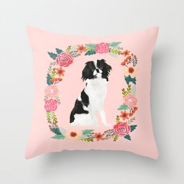 japanese chin floral wreath dog breed pet portrait pure breed dog lovers Throw Pillow