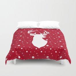 Deer on red . Duvet Cover