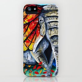 elephant painting, butterfly, monarch, fall leaves, elephant artwork, wall art, autumn iPhone Case