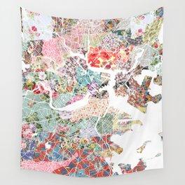 Boston map portrait Wall Tapestry