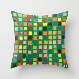 Green Color Grid Throw Pillow