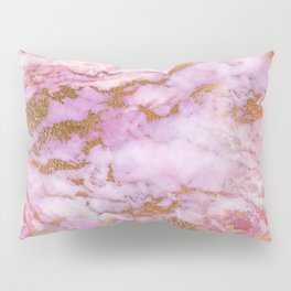 Pink Lilac Fantasy Marble With Gold Bling Veins Pillow Sham